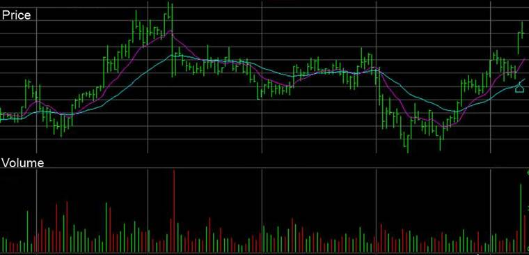 Basic Volume Chart - Red bars when price decreases for the day, green bars for when the price rises for the day.