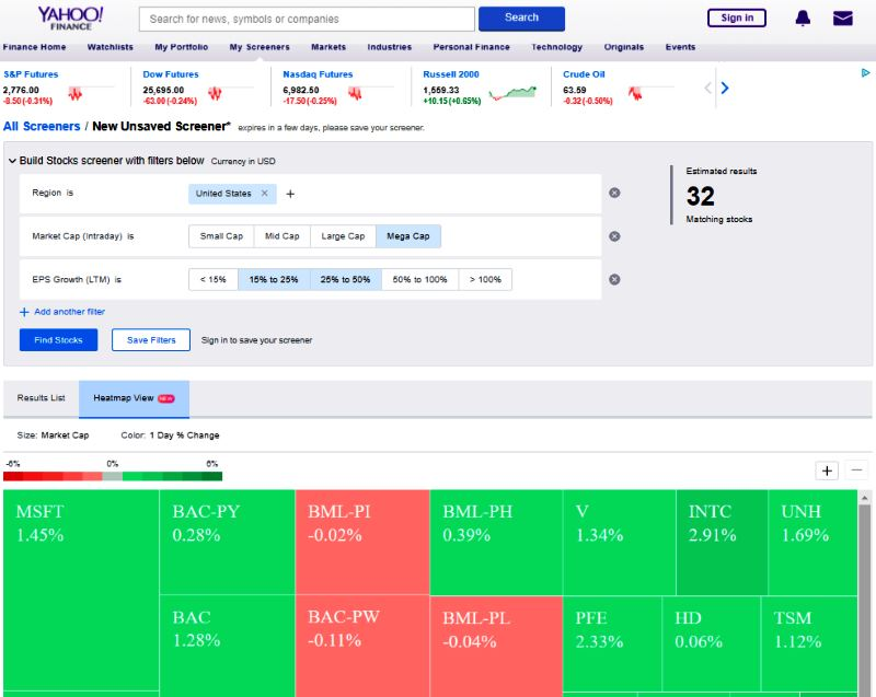 Yahoo Finance Stock Screener