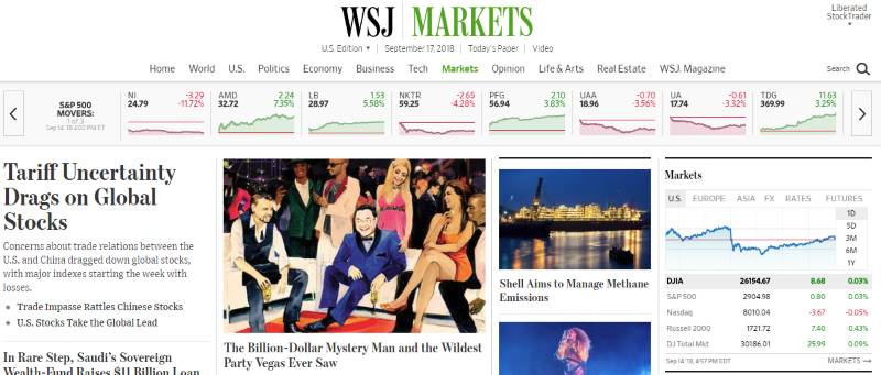Wall Street Journal - Frontpage News - Digital or Print Subscriptions