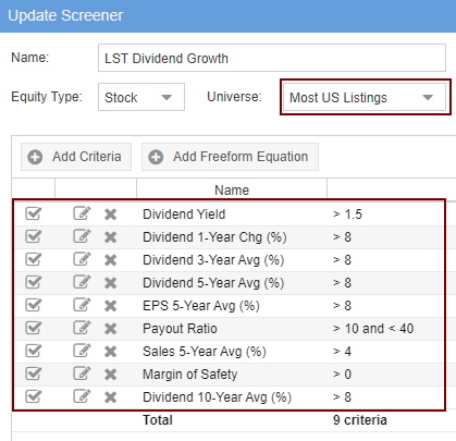 Dividend Growth Screener - Criteria Implemented Into Stock Rover