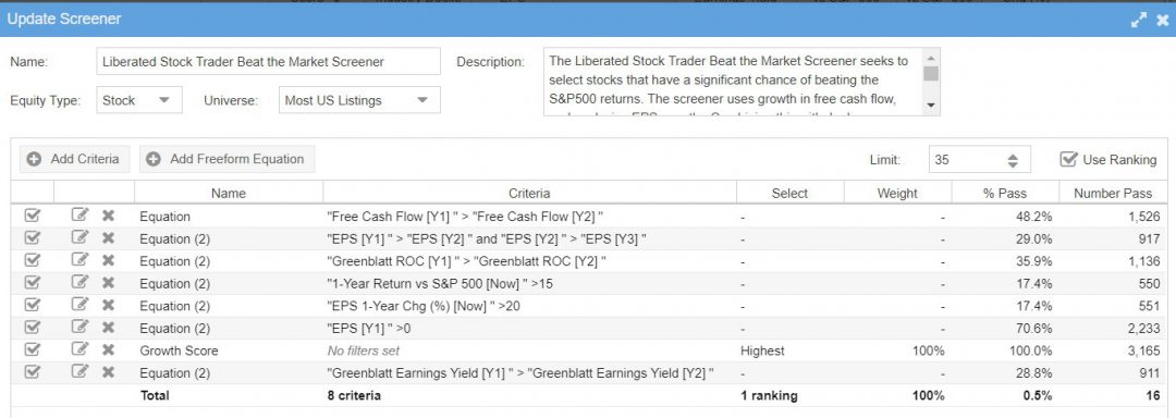 Beat the Market Stock Screener Criteria Current - Only Available in Stock Rover