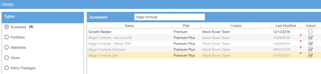 Importing the Magic Formula Screeners into Stock Rover