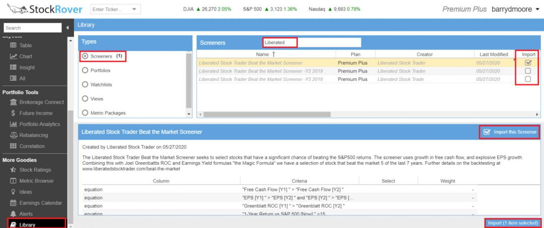 How to Import the Beat the Market Screener in Stock Rover
