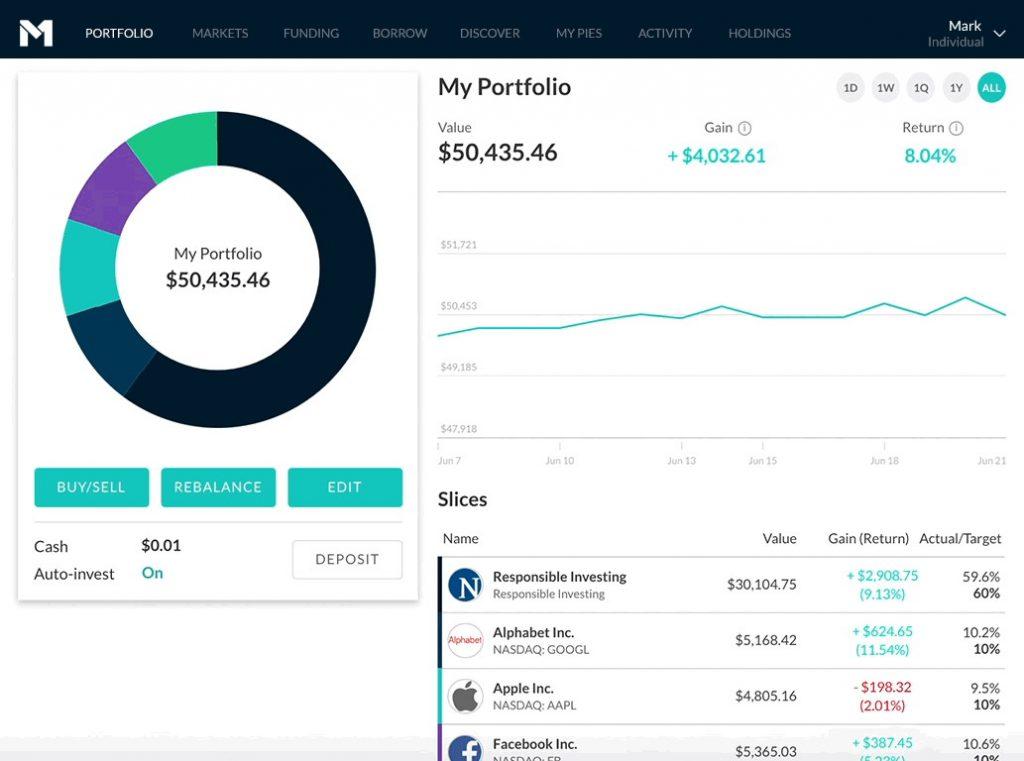 Stock Portfolio Management in the M1 Finance Dashboard