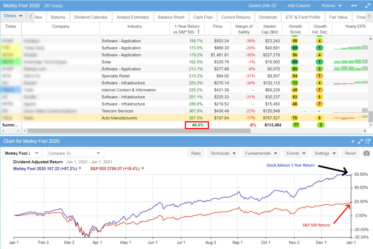 Testing the January 2020 Stock Advisor Recommendations - 1 Year Performance Independently Verified.